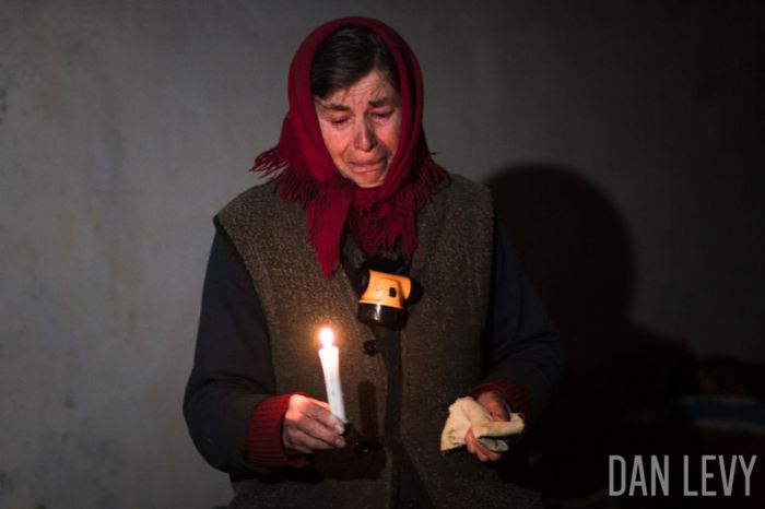 Debaltsevo bomb shelter, with no electricity or water,  by Dan Levy.