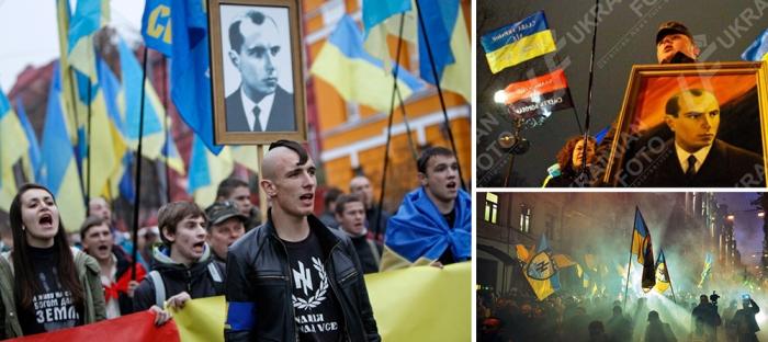 1-2. Marches with portraits of Bandera. Source: RT, Ukrainian Foto; 3. Azov Battalion commemorates the establishment of UPA, 2014. Source: Getty / AFP.