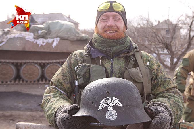 Trophy helmet abandoned by the Ukrainian army in Debaltsevo. Source: KP, by Kots & Steshin.