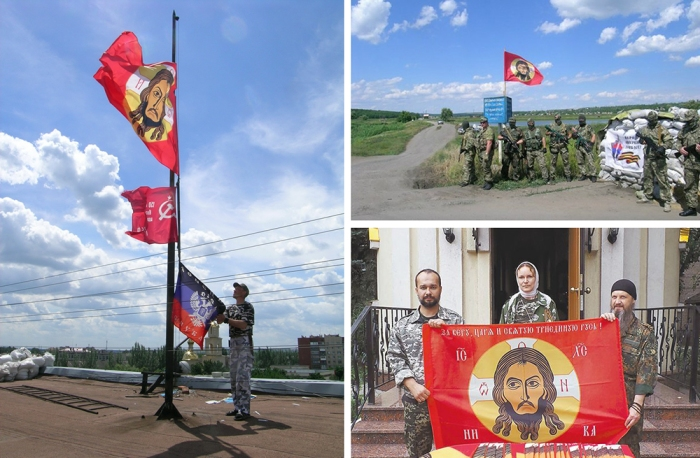Mandylion banner in the Donbass. The first image features beyond-left-and-right banners of Christ, Red Army's WWII banner, and the Civil-War-era-colored Donetsk Republic flag. Source: Communitarian.Ru, 3m.RU, AIF.