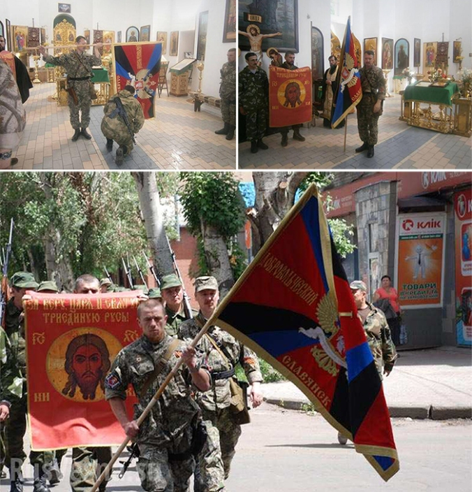 Source: RusVesna. Blessing the banner of the first Slavyansk volunteer battalion at the church of the Holy Resurrection in June, 2014.