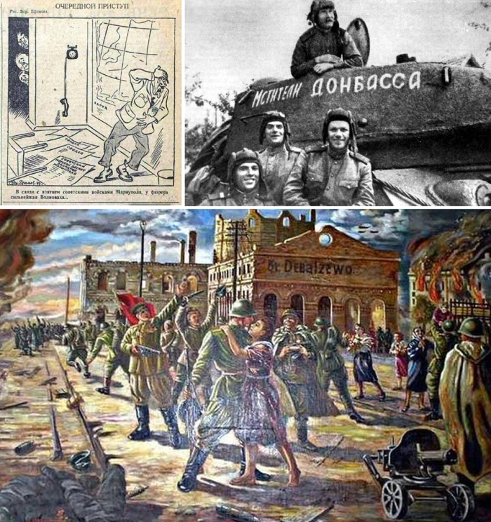 1. Hitler is worried about Mariupol 2. Donbass Avengers, 1945 3. Debaltsevo Train Station is Ours, 1947.