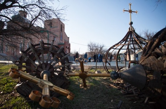 One of the many churches destroyed during the 2014-15 war in Donbass. Source: Donetsk, Mikhail Sokolov, TASS.